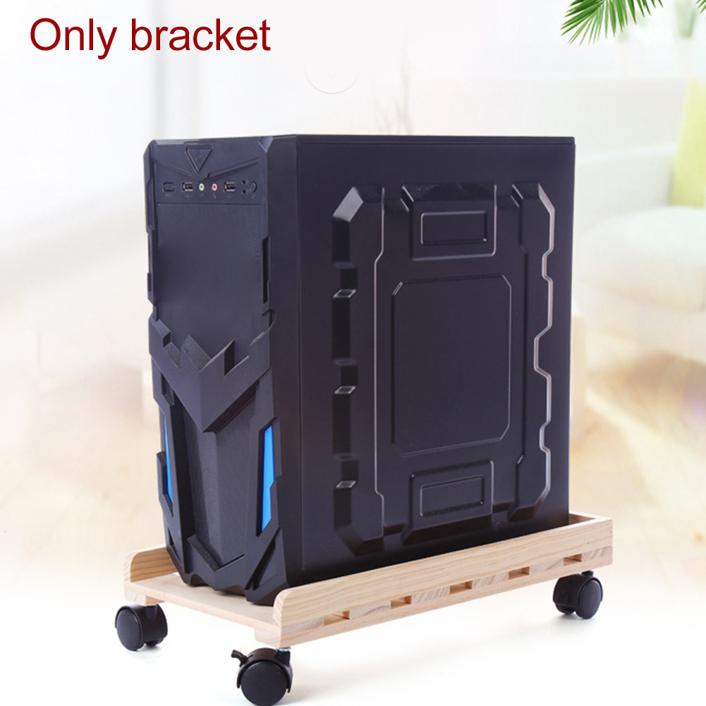 Caster Moving Tower Adjustable Tray Computer Office Rolling Wheels Wooden PC Case Holder Desktop Heat Dissipation CPU Stand