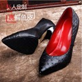 ourui new true Ostrich leather female High heels pink The shallow mouth simple Female shoes women shoes