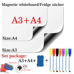 A3 + A4 Pacote Conjunto Quadro Magnético Macio Home Office Cozinha Placa Flexível Pad Ímã Ímã Seca Apagar Bordo Branco frigorífico