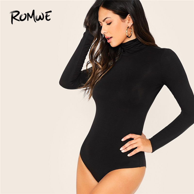 ROMWE Solid Stand Collar Long Sleeve Bodysuit Women Skinny Mid Waist Stretchy Black Bodysuit 2019 Autumn One Piece Jumpsuit