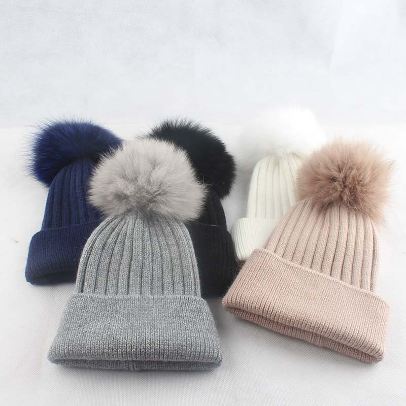 Pompom-Hat Curling-Hat Beanies Fox-Fur-Ball Skullies Knit Warm Autumn Girl Winter Children's