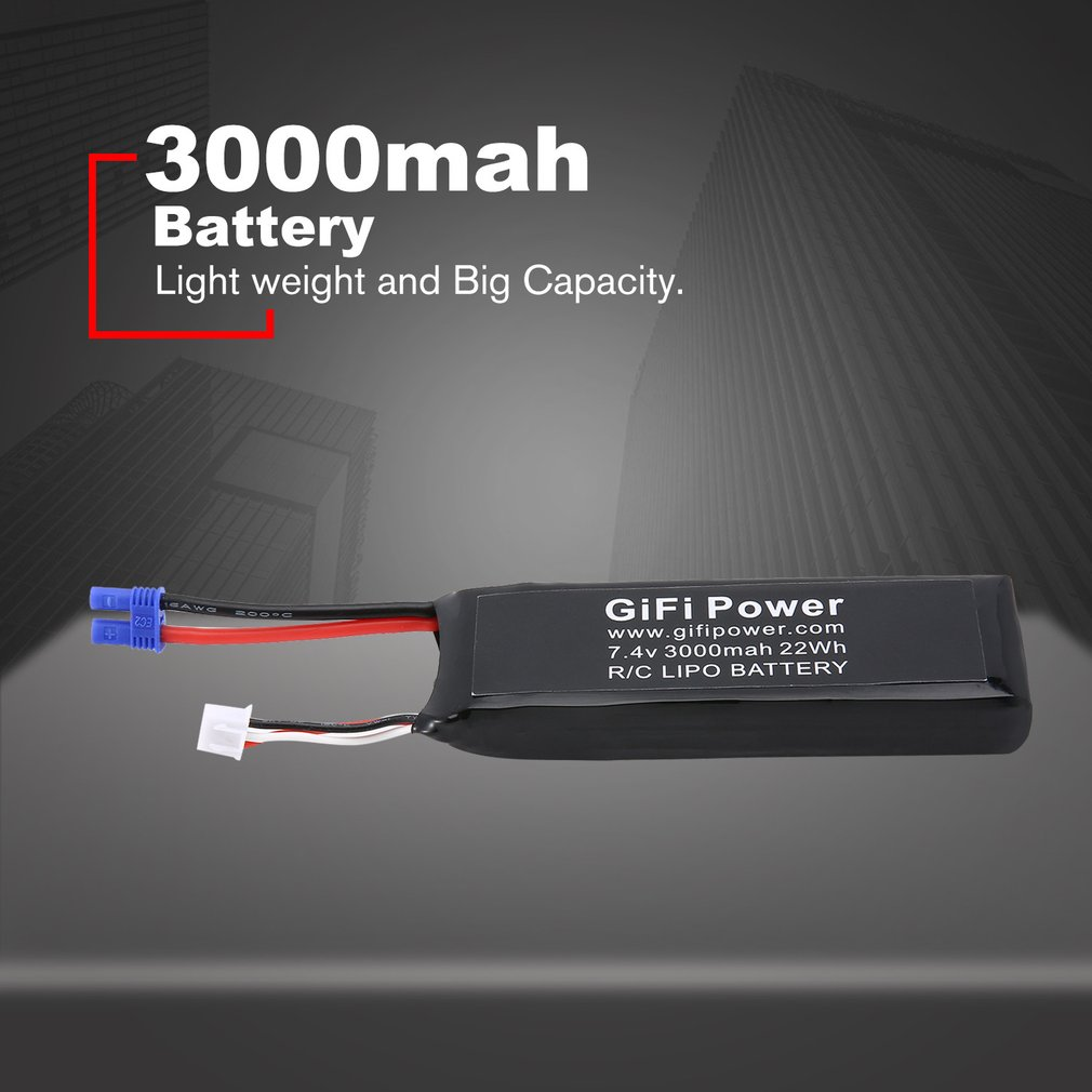 Large Capacity Battery 7.4V 3000mAh Upgraded Replacement Lipo Battery Lightweight Drone Battery For Hubsan <font><b>H501S</b></font> rc Drone <font><b>parts</b></font> image