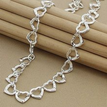925 Серебряное ожерелье модное маленькое сердце очаровательные