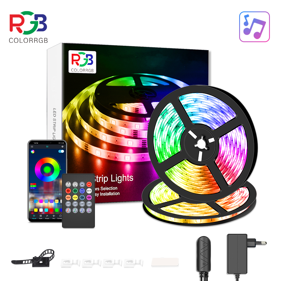 15M LED Strip Light RGB 5050 Lights Music Sync Color Changing  Sensitive Built-in Mic App Controlled LED Lights Rope Lights