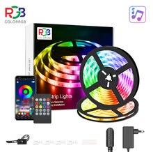 Lumière de bande de LED, micro intégré sensible de synchronisation de musique de lumières de rvb 5050, lumières de corde de lumières de led de contrôle d'app LED