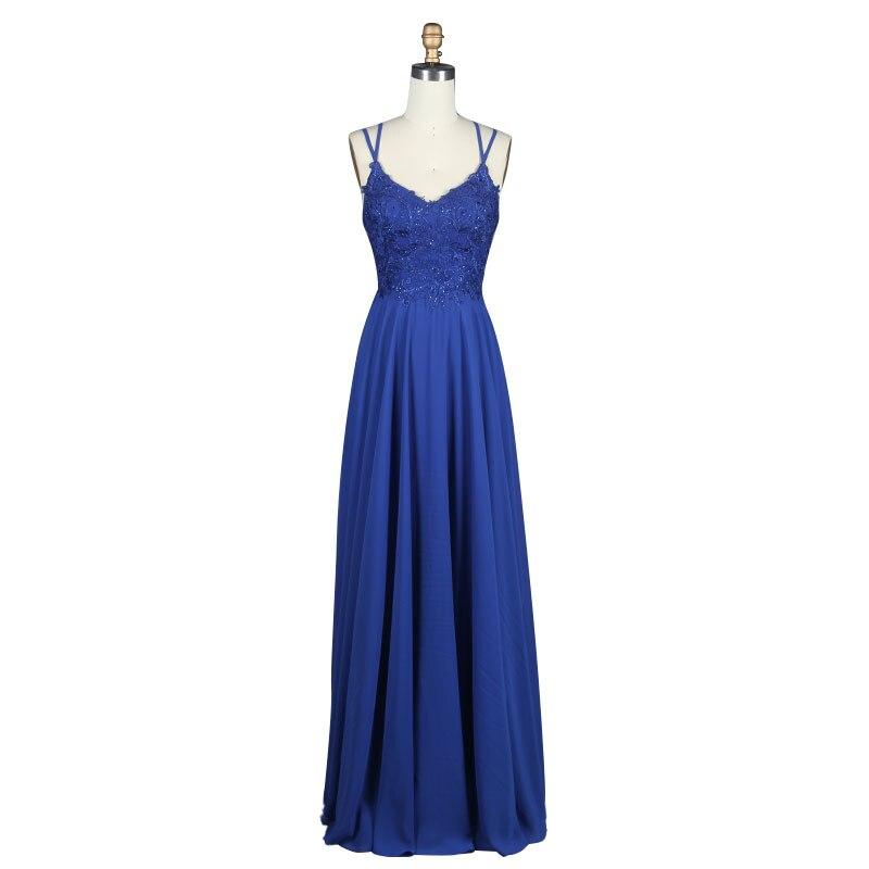 Robe de soirée Sexy élégante robe de soirée bleu Royal 2019 une ligne robe de soirée formelle Applique dentelle robe de bal robe mariée
