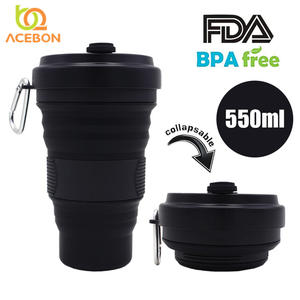 Folding Silicone Travel Collapsible Portable All-Black with Cup-Mugs Telescopic-Drinking