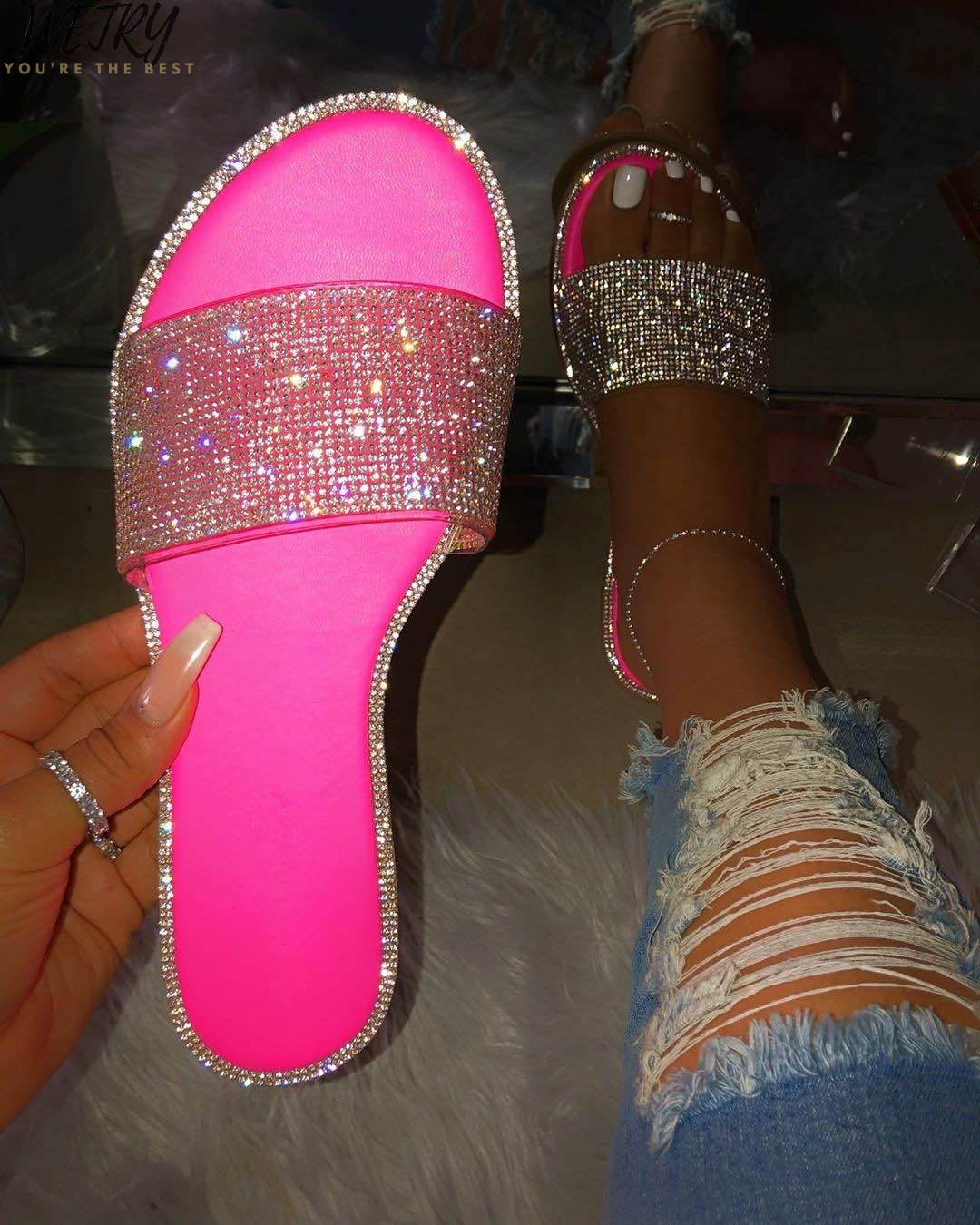 New Summer Women Crystal Slippers Glitter Flat Soft Bling Female Candy Color Flip Flops Outdoor Ladies Slides Hot Beach Shoes