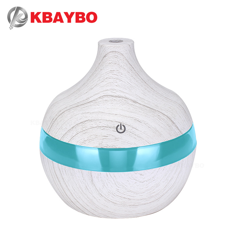 KBAYBO 300ml USB Air Humidifier White Wood Grain USB Diffuser With 7 Colors LED Lights Ultrasonic Humidifier For Home Bedroom