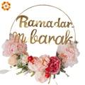 Eid Ramadan Dekoration Kränze Streifen DIY Kranz Partei Eid Mubarak Ramadan Islam Party Metall Ring Kranz Party Dekoration