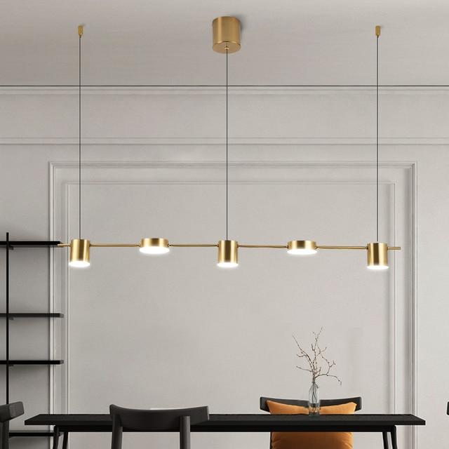 זהב או שחור נורדי פשוט תליון אורות חדר אוכל LED תאורת תליית גופי עבור בר שינה בית ארוך תליון מנורה