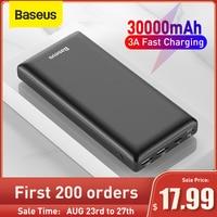 Baseus-Banco de energía de 30000mAh, Powerbank de carga rápida USB C, cargador de batería externo portátil para iPhone 1112 Pro, Xiaomi Pover