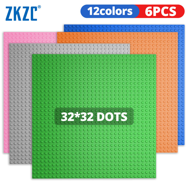 ZKZC 32x32 Studs Base Plates 6PCS Set Figures Bricks Base Plates City Classic DIY Building Blocks Baseplates Toys For Children