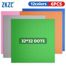 Zkzc 32x32 studs placas de base 6pcs conjunto figuras tijolos placas de base cidade clássico diy blocos de construção baseplates brinquedos para crianças