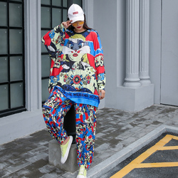 Hip-hop style two-piece loose T-shirt + casual wide-leg pants fashion sports suit summer bf large size was thin  two-piece tide