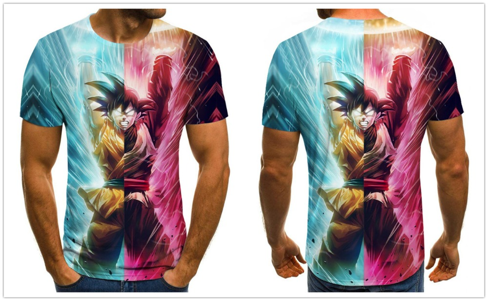 manga dragon ball z Super Saiyan Son Goku Anime Summer 3D Print 2020 Newest Fashion Tee Tops Men / Boys Cartoon Casual T Shirt