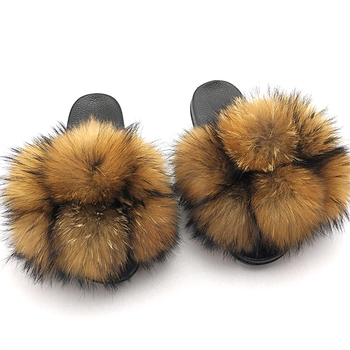 Fur Slippers Women Furry Slides Summer Fluffy House Shoes Woman Real Home Wholesale Women's Fox - discount item  38% OFF Women's Shoes