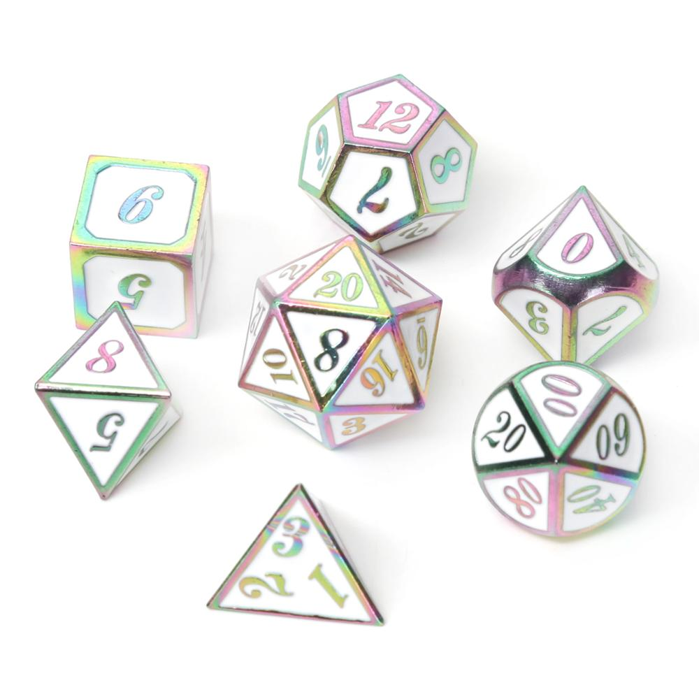 Chengshuo Dnd Dice Metal Rpg Set Polyhedral Dungeons And Dragon Black Table Games Zinc Alloy Green Digital Dice Pattern D20 10