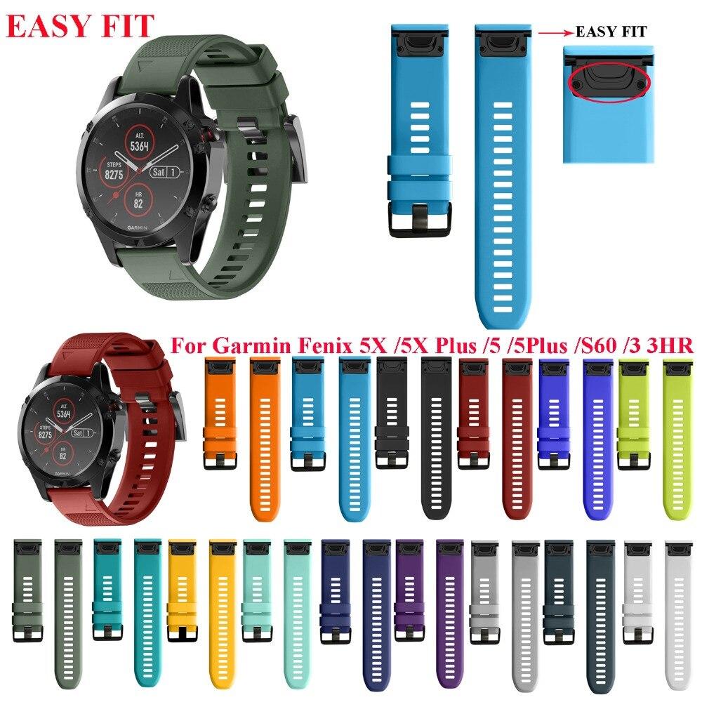 26 Mm 22 MM Watch Band For Garmin Fenix 5 5X 3 3 HR For Fenix 5X Plus S60 Watch Quick Release Silicone Easyfit Wrist Band Strap