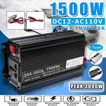 Solar Inverter DC 12V zu AC 110V/230V 1500W Modifizierte Sinus Welle Power Inverter Spannung transformator Konverter für Auto Home image