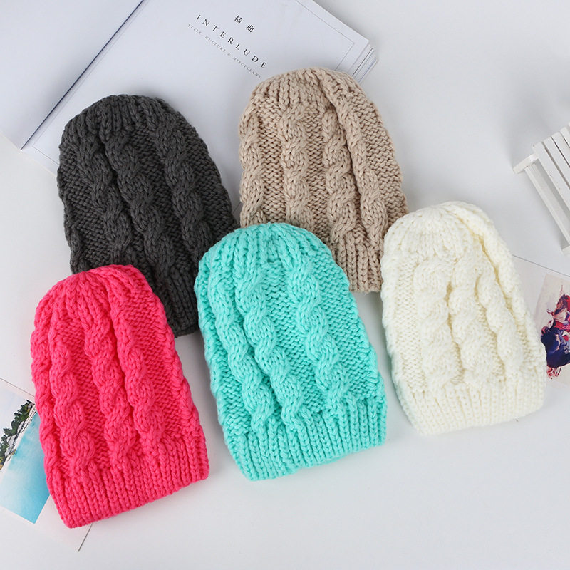 Simple Stripe Warm Women Ladies Winter   Beanie   Hat Solid Color Knitted Hats Gorros