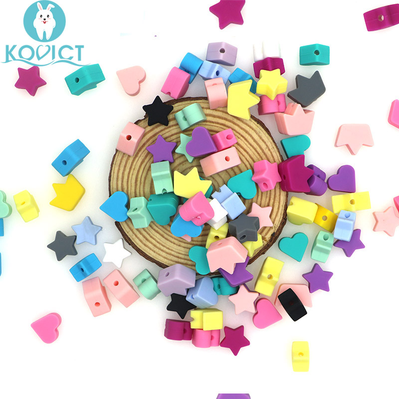 Kovict Wholesale 100/200/500pcs Silicone Beads Star Heart Crown DIY Teething Necklace Accessories Teething Pacifier