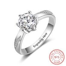 Персонализированные обручальные кольца 925 пробы серебряные кольца с кубическим цирконием для женщин изысканные свадебные женские ювелирные изделия(RI103758