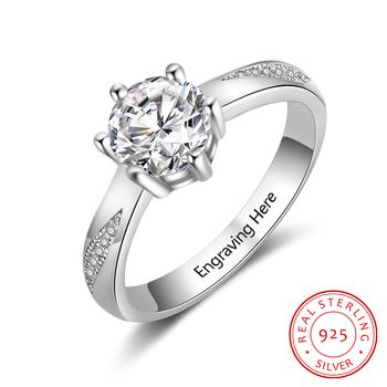 Spersonalizowane pierścionki zaręczynowe 925 Sterling Silver cyrkonia pierścionki dla kobiet wykwintne kobiety biżuteria ślubna (RI103758) tanie i dobre opinie jewelora Srebrny Ślub Prong ustawianie Moda Klasyczny Wszystko kompatybilny Zespoły weselne Okrągły