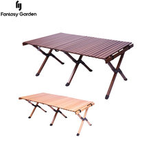 Camping Folding Table Portable Solid Wood Egg Roll Table Multifunctional Car Picnic Desk Garden Party Furniture