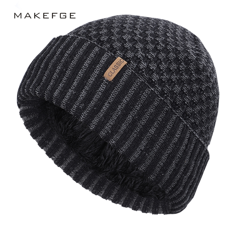 2019 New Plus Velvet Cotton Cap Winter Warm Men And Women Knit Hat Outdoor Leisure Plaid Striped High Quality Cotton Men's Peas
