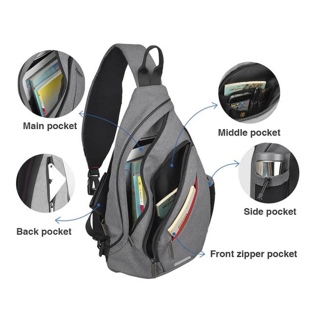 Mixi Men One Shoulder Backpack Women Sling Bag with USB 5