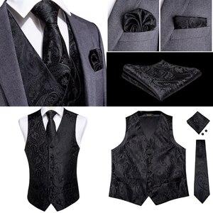 Image 3 - DiBanGu красный черный Пейсли Модный свадебный мужской 100% шелковый жилет Галстуки Ханки Запонки набор галстуков для костюма смокинг MJTZ 106