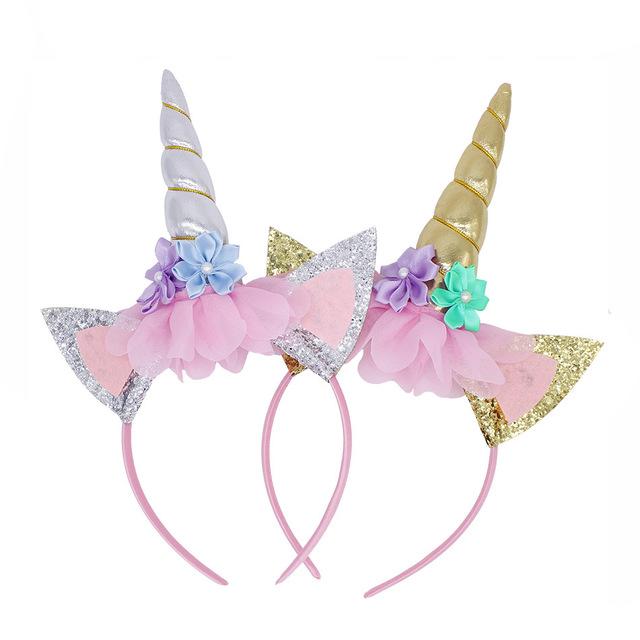 Sevimli Unicorn kız çiçek kedi kulaklar kafa bantları çocuk şapkalar fotoğraf sahne parti saç çember saç bantları çocuk saç aksesuarları