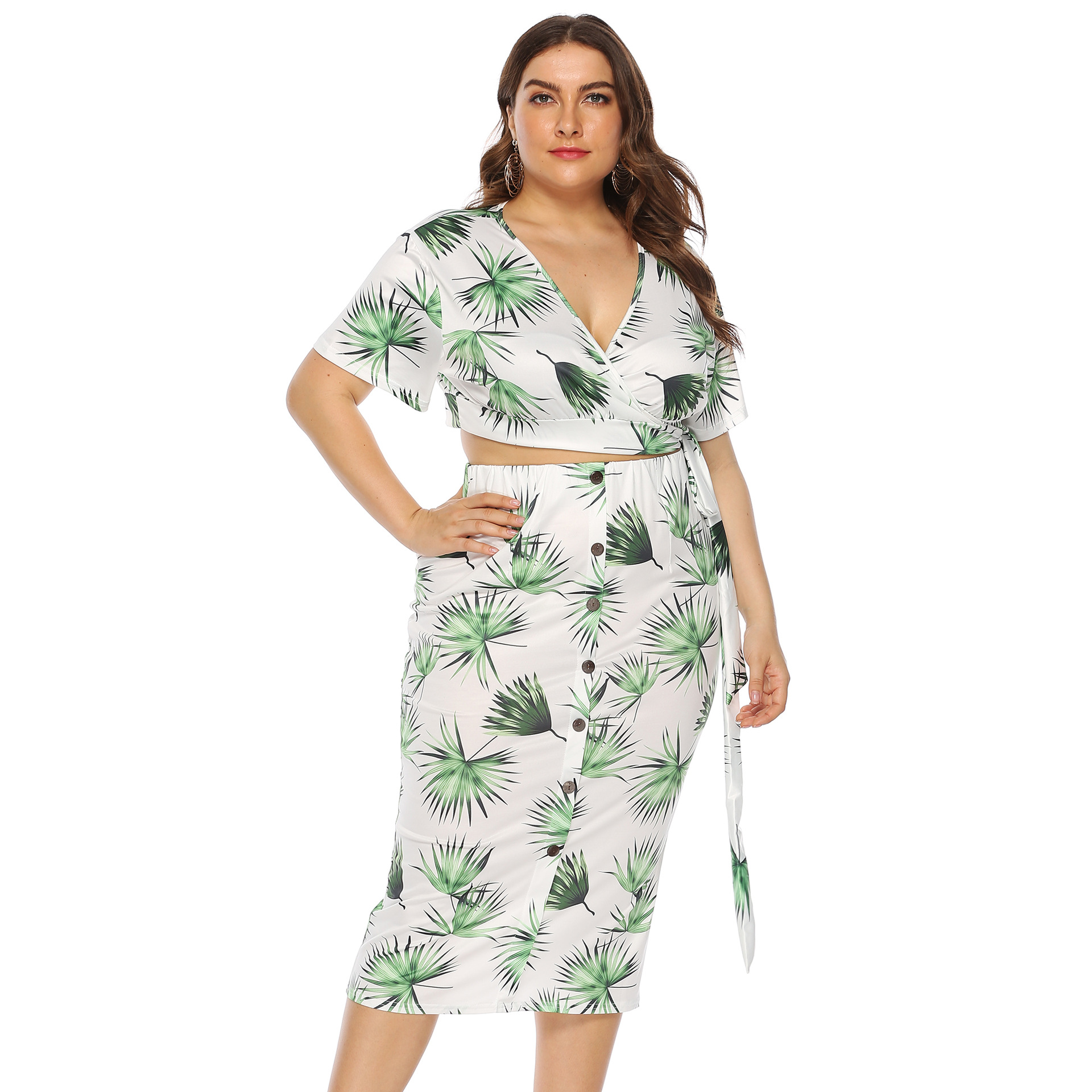 Large Size Dress Leaf Printed Bandage Cloth Button Short Sleeve Deep-V Navel Skirt Two-Piece Set Women's 14000