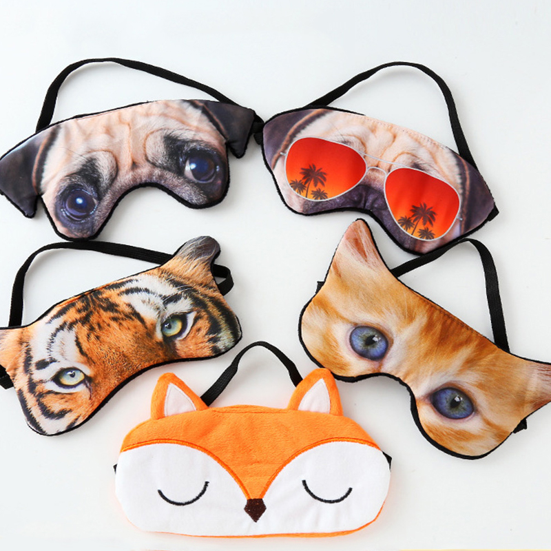 Sleep Eye Mask Cotton 3D Animal Eyeshade Cute Eyepatch Sleeping Mask Travel Eye Cover Rest Eye Band Sleep Aid Kids Eye Blindfold