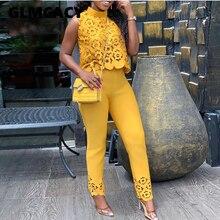 Women Streetwear Turtleneck Lace Hollow Out Top & Pants Set