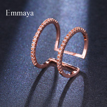 Emmaya-anillo de oro rosa brillante ajustable para mujer, sortija doble, diseño creativo, aspecto de conexión, circón