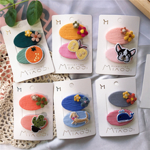 M MISM New 2pcs Cute Cartoon Cloth Hair Clips Flower Fruit Animal Hairpins Multi Color Vintage Rural Style Accessories