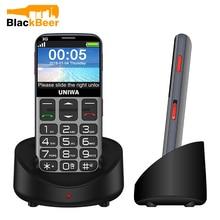UNIWA V808G 2.31 인치 휴대 전화 3G WCAMA 핸드폰 노인 노인을위한 SOS 1400mAh 러시아어 키보드 2G 휴대 전화