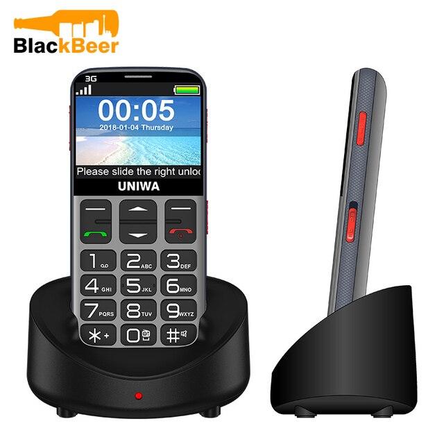 UNIWA V808G 2.31 אינץ נייד טלפון 3G WCAMA הסלולר עבור זקן בכיר SOS 1400mAh רוסית מקלדת 2G טלפון סלולרי עבור קשישים