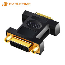 Cabletime VGA Male To DVI 24 + 5 Pin Female Converter DVI TO VGA Adaptor 1080 Berlapis Emas DVI Converter forcomputer PC Laptop C11(China)