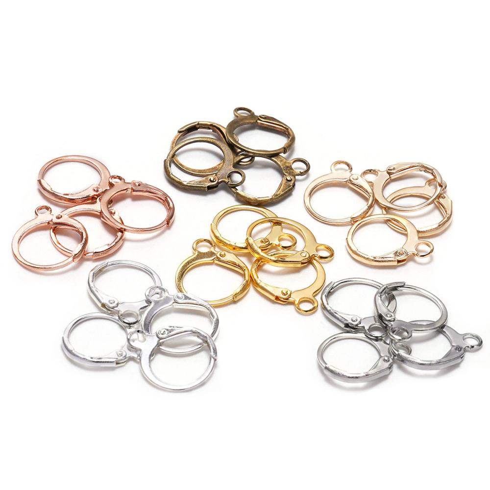 20pcs/lot 14*12mm  Gold Bronze French Lever Earring Hooks Wire Settings Base Hoops Earrings For DIY Jewelry Making Supplie