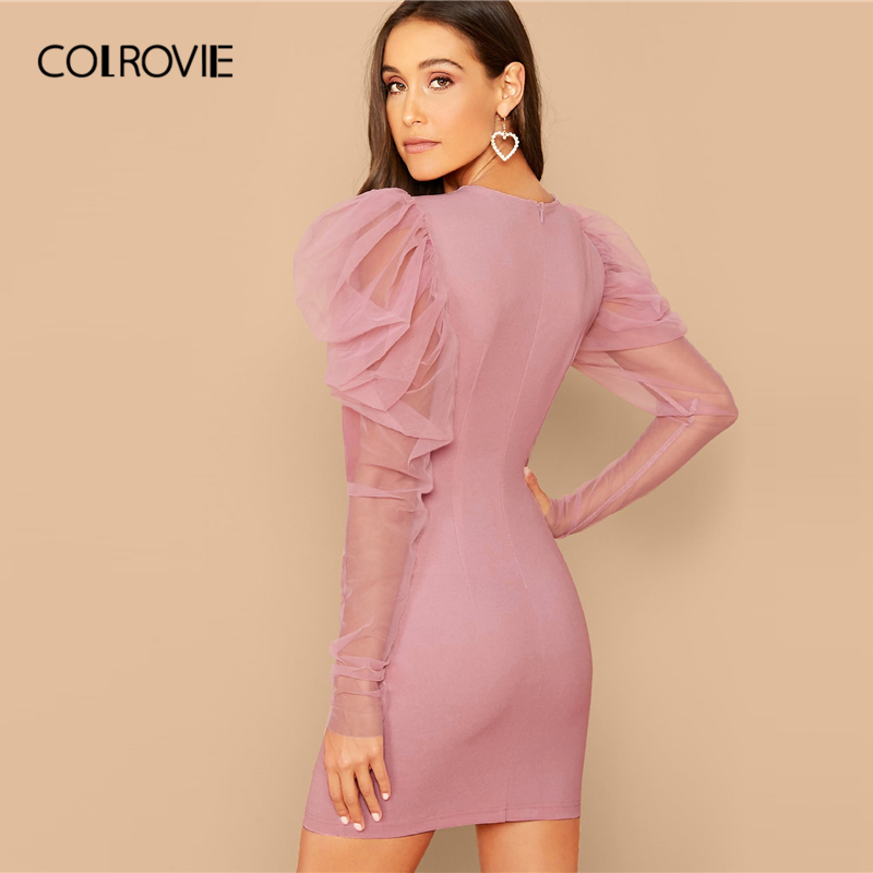 COLROVIE Pink Mesh Gigot Sleeve Bodycon Dress Women Sheer Sexy Backless Mini Dress 2020 Spring Slim Elegant Pencil Dresses 2
