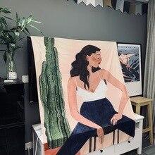 Кактус девушка настенный гобелен богемный Стиль персонажа подвесная ткань персонажа леди ткань для украшения дома занавеска для гостиной