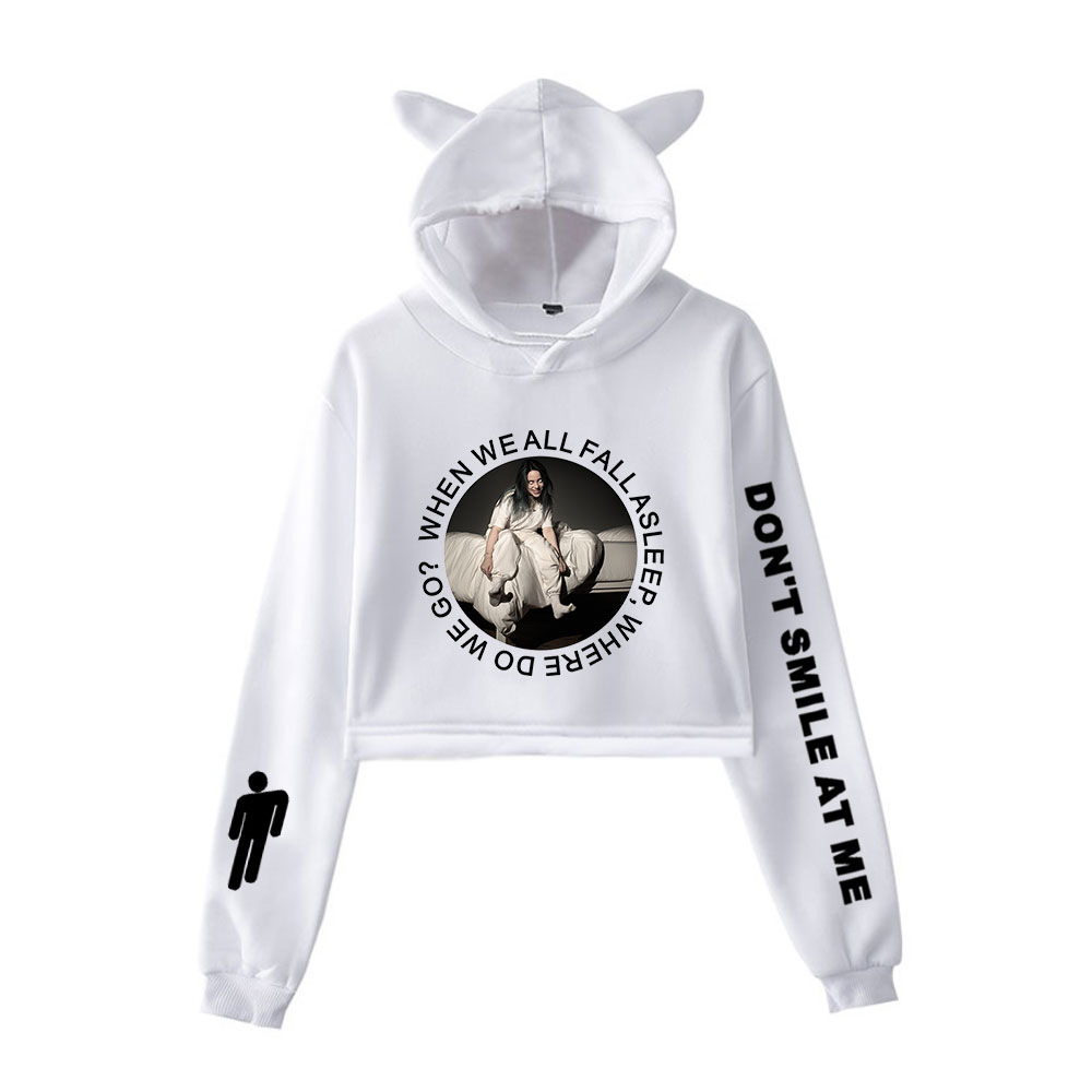 Billie Eilish Europe And America Singer Related Products Should Aid Navel Hooded Cat Ears Hoodie