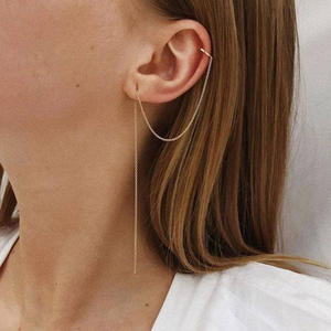 Moonmory Wedding-Earring Chain Ear-Cuff Jewelry Silver Brincos 925-Sterling-Silver One-Piece