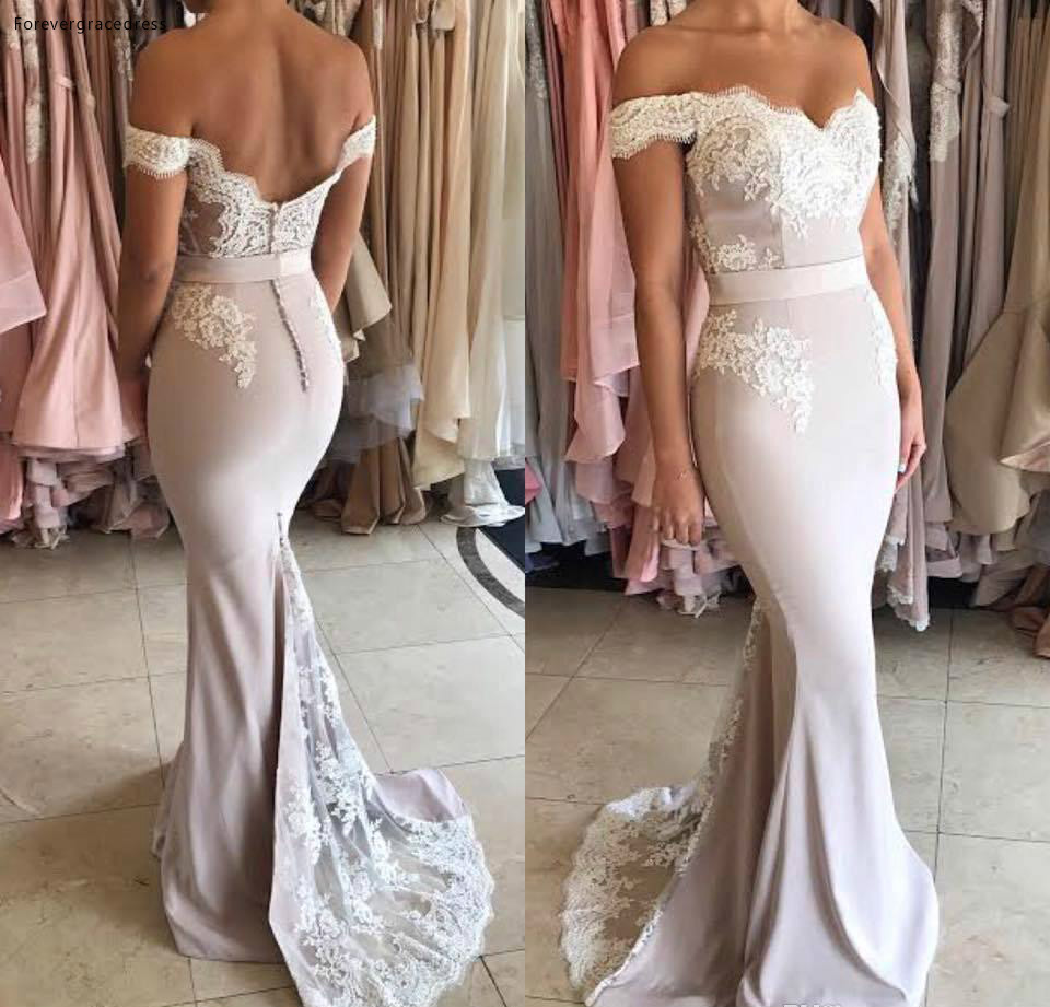 2019 Backless Bridesmaid Dress Off The Shoulder Lace Appliqued Formal Holidays Wear Graduation Party Gown Plus Size