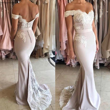 2019 Backless Bridesmaid Dress Off The Shoulder Lace Appliqu