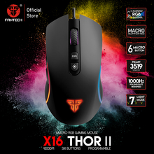 FANTECH ratón Gaming X16 profesional, ajustable, 6 botones, Cable Macro, para jugadores, FPS, LOL, ergonómico, 4200DPI