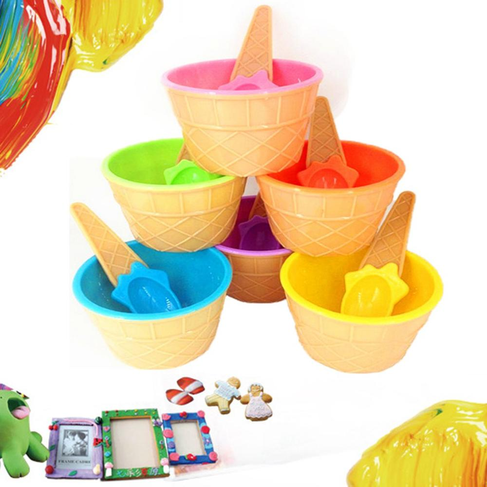 Slime Bowl Box Spoon Fluffy Containers DIY Kit Accessories Children Clay Bowl Toys Kids Food Play Ice Cream Bowl